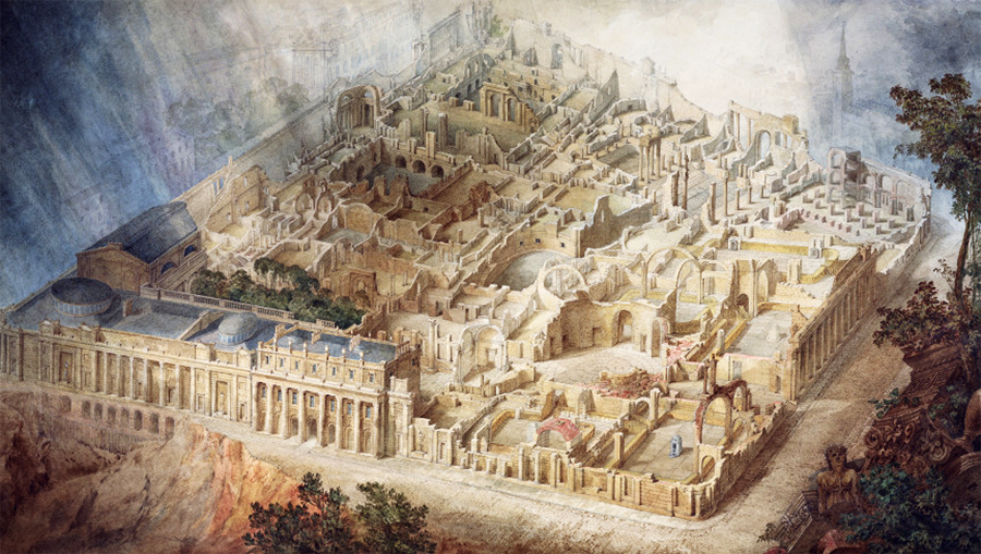 Aerial cutaway view of the Bank of England building from the southeast, drawn in 1830. Image by Joseph Michael Gandy, courtesy the Trustees of Sir John Soane's museum.