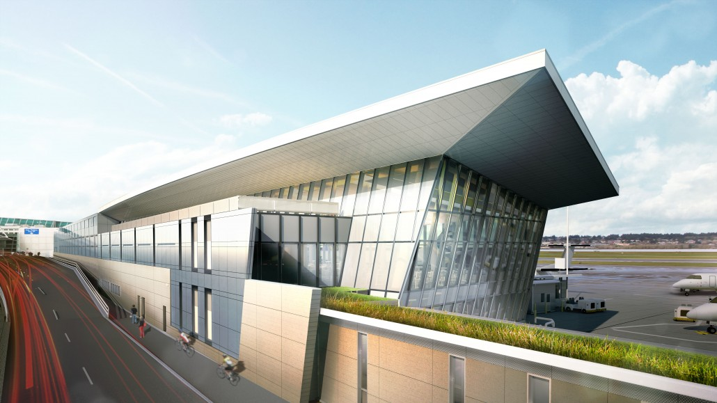 Render of PDX Airport by Fentress and Hennebery Eddy Architects