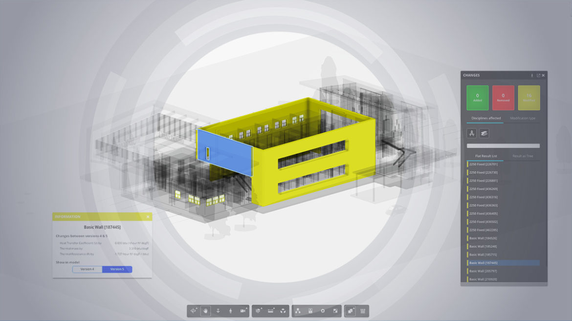 Screenshot of Version Compare feature of Cloud Collaboration tool BIM 360 Team