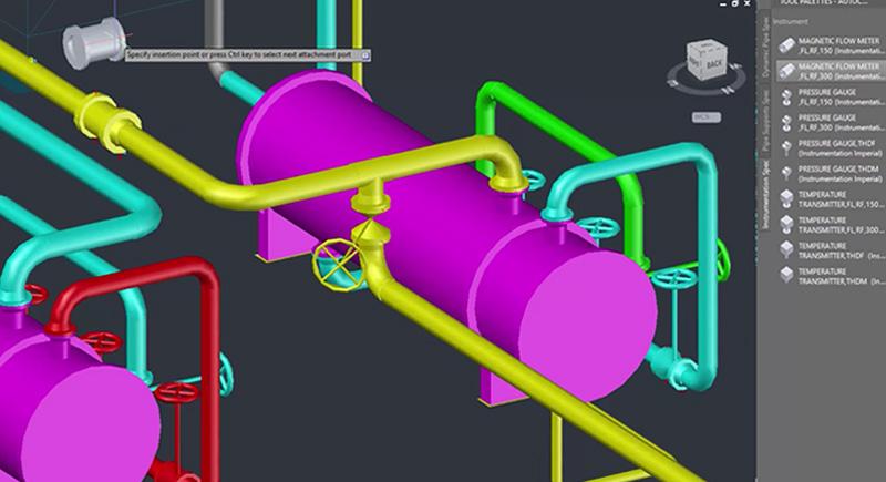 Screenshot of 3D instrumentation model in AutoCAD Plant 3D