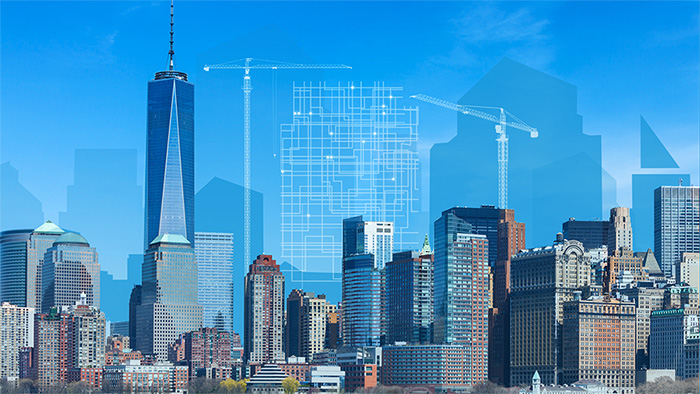 Image and illustration composite with daytime skyline showing an upcoming building and construction equipment superimposed as a line sketch.