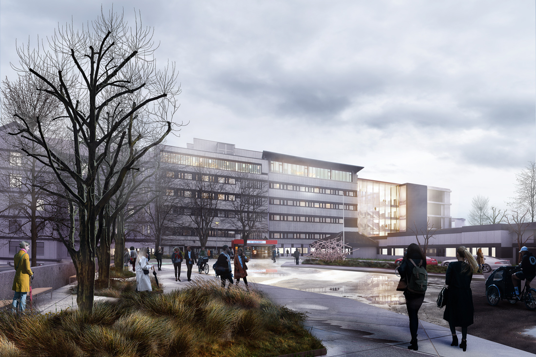 Rendering of Haugesund Hospital, slated for completion in 2020, designed by Momentum Architects in joint venture with Vikanes Bungum, OEC Gruppen AS, SWECO Norge AS, and Bygganalyse AS.