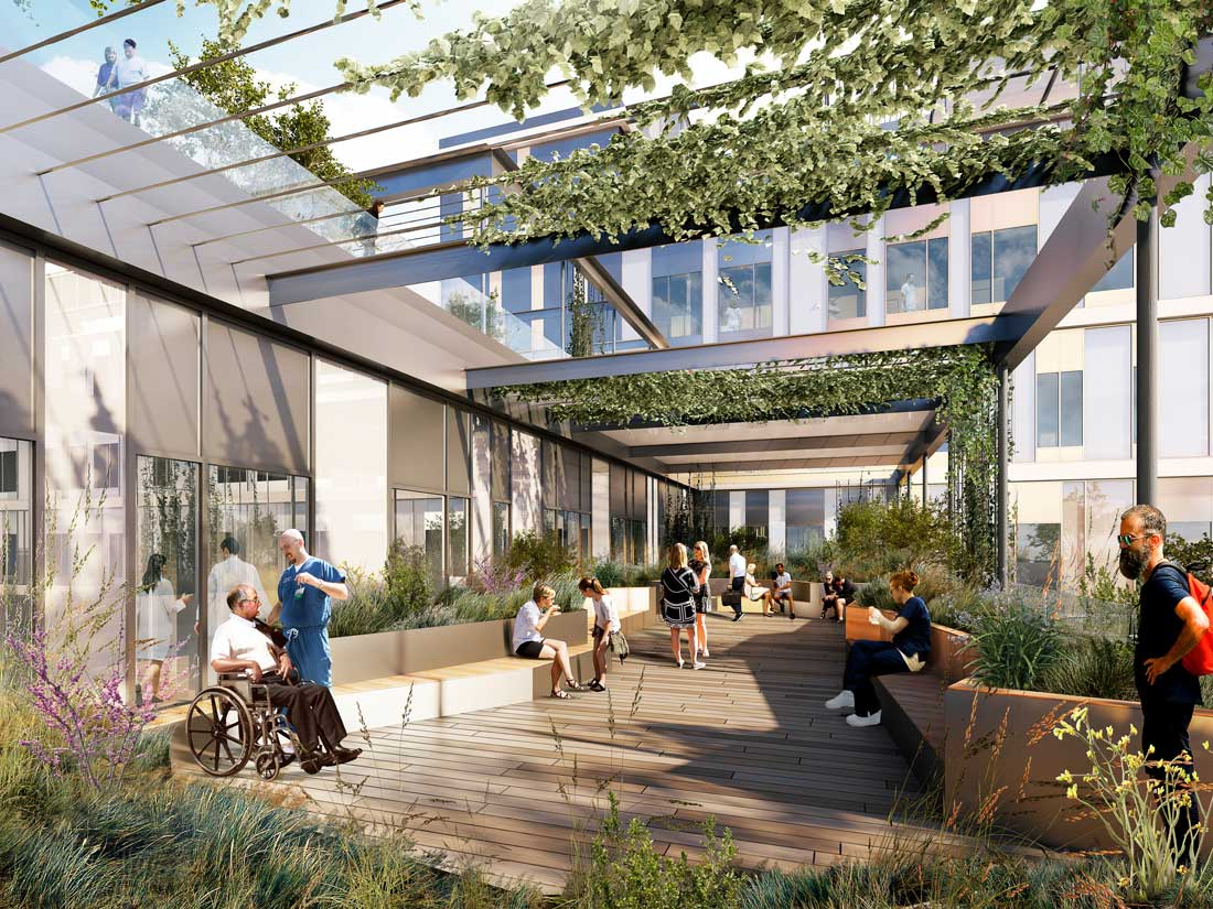 Three green roof gardens help reduce stress and aid recovery, an important characteristic of hospital design in recent years. Rendering courtesy of Momentum Architects.