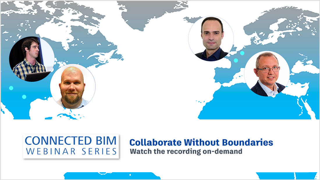 Image of world map with photos of building design team members around the world superimposed on it, as they conduct a design collaboration webinar, the latest in the Connected BIM webinar series from Autodesk.