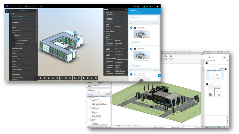 Screenshots of BIM 360 Team and collaboration for Revit