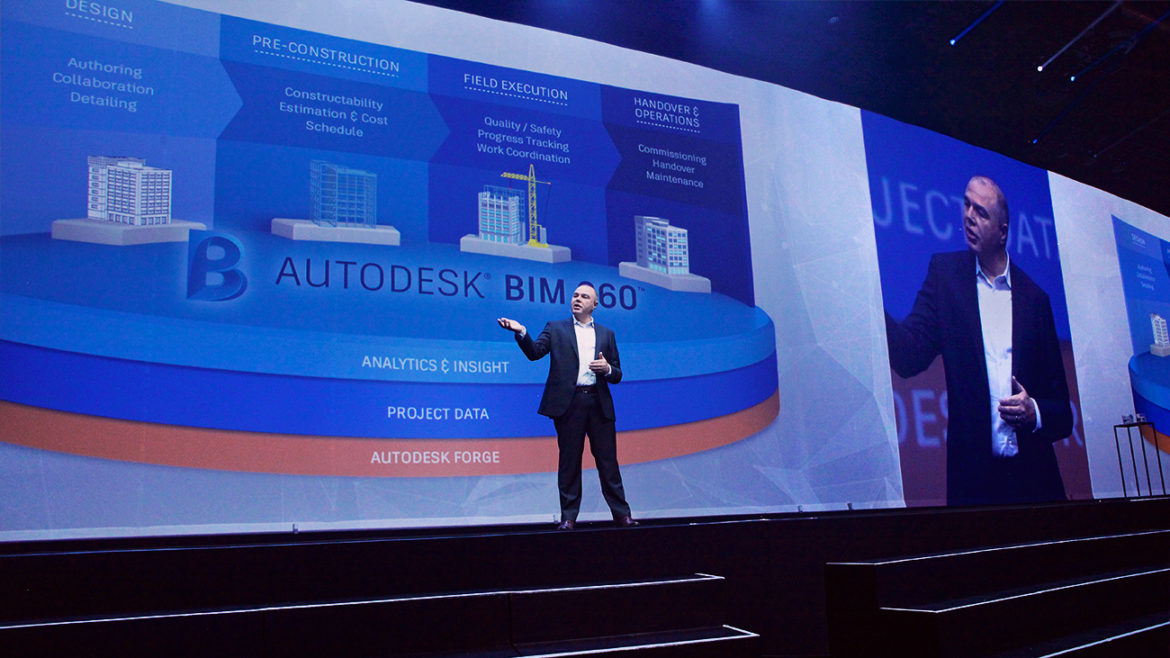 Photo of Nicolas Magnon, VP of Architecture, Engineering and Construction at Autodesk, delivers the AEC keynote at AU2017, and it's all about an upcoming common data platform with BIM 360.