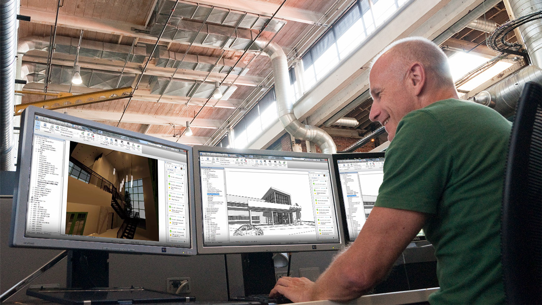 "Image of designer using three screens at his workstation, looking at cloud workshared Revit models, used as the featured image for ""Worksharing in Collaboration for Revit"" blog post"