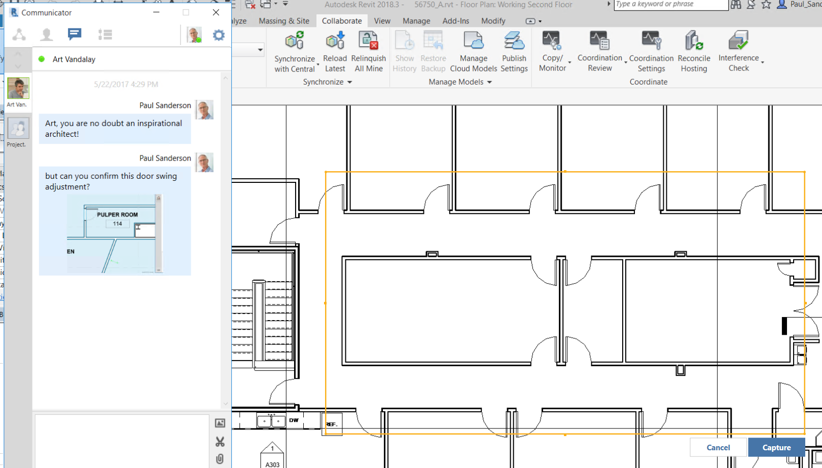 Screenshot in C4R of designer capturing a screenshot of the area where he is requesting for design edits while worksharing in Collaboration for Revit.