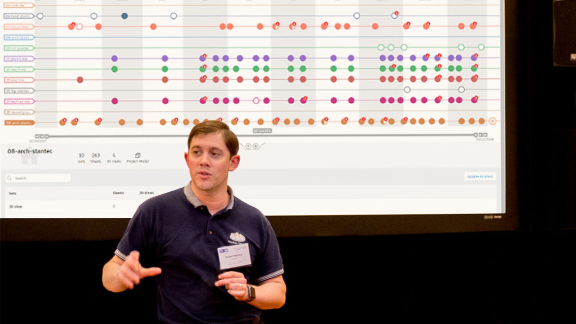 Image of Robert Manna, Stantec, at a conference with BIM 360 product screen behind him.