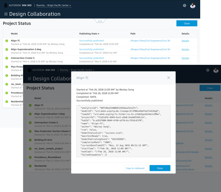 Screenshot of Project Status table for BIM 360 Design Collaboration module