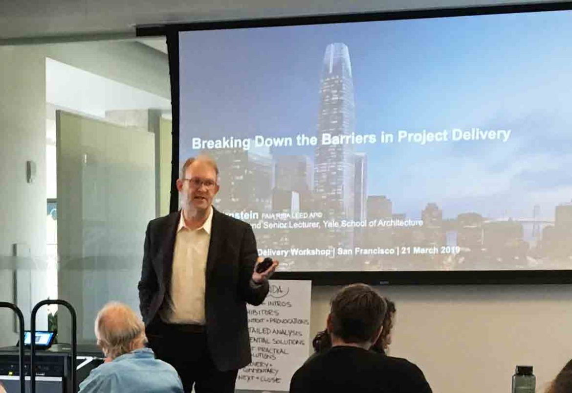 Photo of Phil Bernstein in Autodesk's San Francisco gallery at a customer workshop on project delivery
