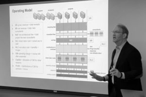 Photo of Phil Bernstein lecturing at Yale University with a slide showing a diagrammatic view of operating models for aEC projects behind him