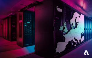 Wide-Angle Panorama Shot of a Working Data Center With Rows of Rack Servers. Red Emergency Led Lights Blinking and Computers are Working. Dark Ambient Light. Map of Europe superimposed on the lockers on the right.