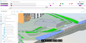 Screenshot of RVT and C3D file in Design Collaboration's project model viewer